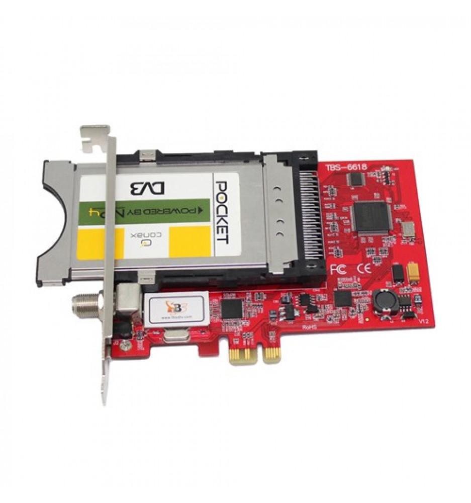 TBS6618 DVB-C TV Tuner CI PCIe Card- PC Cards