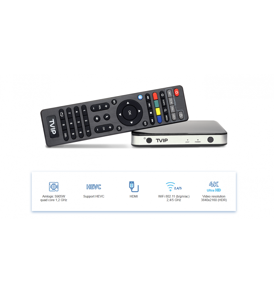 TVIP S-Box v.525 IPTV / OTT HD Box 4K With WiFi 2.4 / 5 GHz